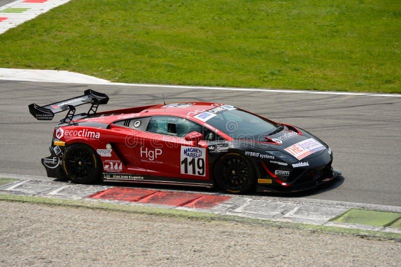 队Eurotech Lamborghini Gallardo意大利GT 2015年在蒙扎 库存照片