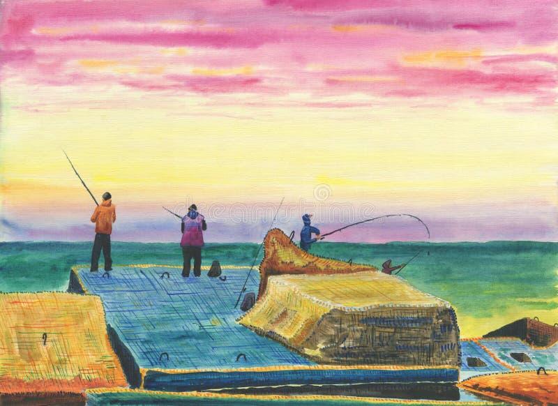 防堤的渔夫 皇族释放例证