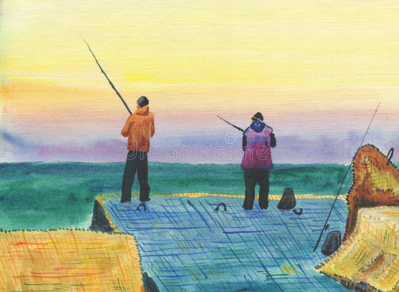 防堤的渔夫 库存例证