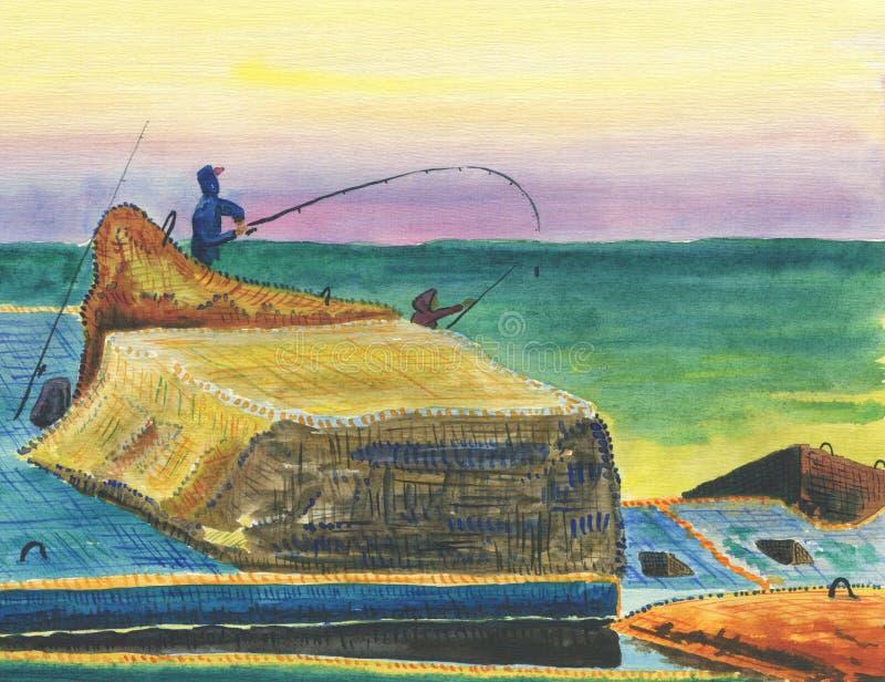 防堤的渔夫 向量例证