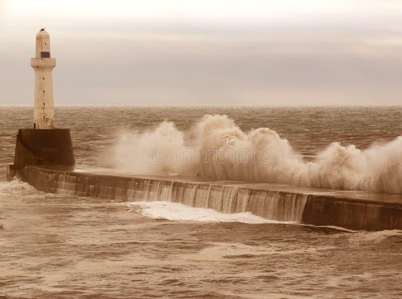 防堤风暴 库存照片