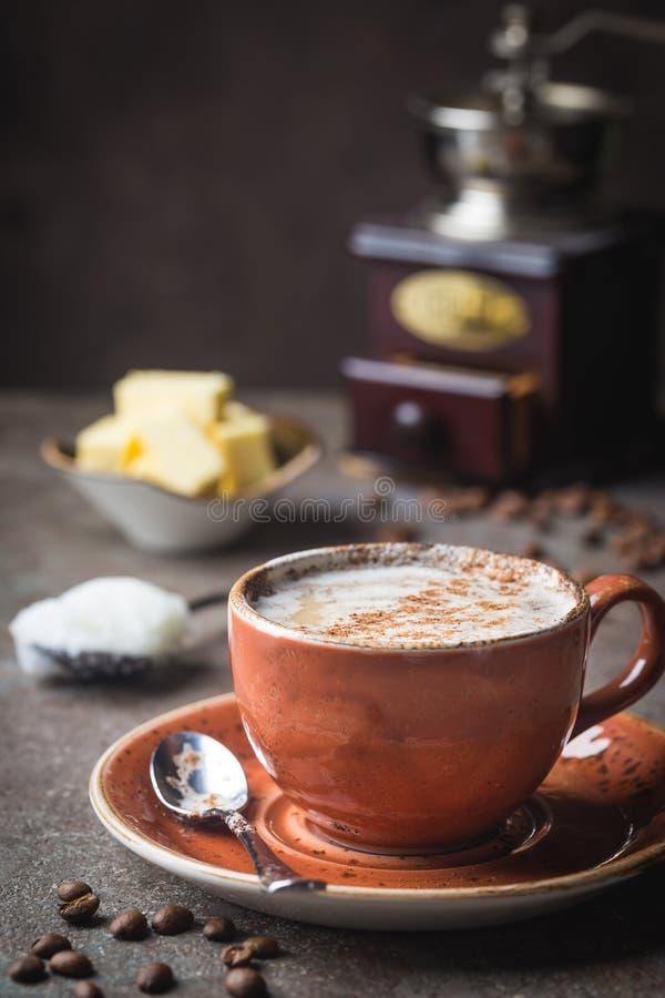 防弹咖啡, keto早餐 免版税库存照片