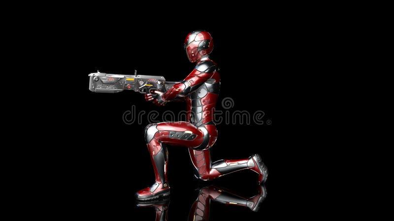 防弹装甲的武装用科学幻想小说步枪枪下跪和射击在黑色的未来派机器人战士,军事靠机械装置维持生命的人 皇族释放例证