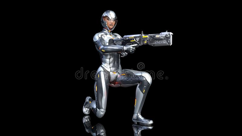 防弹装甲的武装用科学幻想小说步枪枪下跪在黑色的未来派机器人战士妇女,军事靠机械装置维持生命的人女孩 皇族释放例证