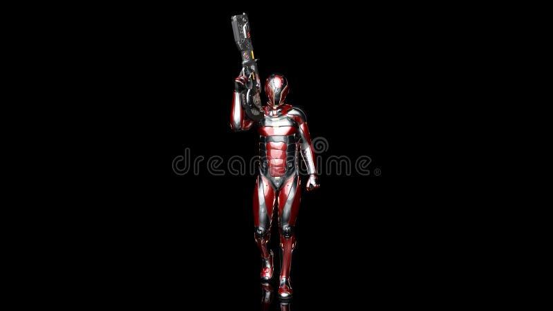 防弹装甲的武装用科学幻想小说步枪枪走在黑背景,3D的未来派机器人战士,军事靠机械装置维持生命的人 向量例证