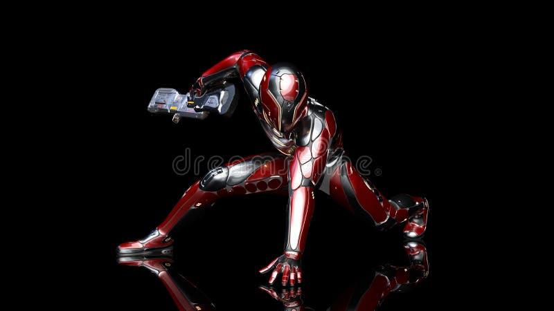 防弹装甲的武装用科学幻想小说步枪枪蹲下在黑背景,3D的未来派机器人战士,军事靠机械装置维持生命的人 库存例证
