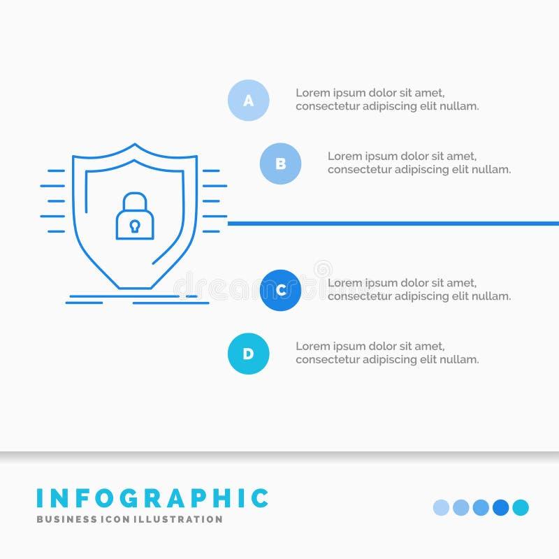 防御、防火墙、保护、安全、盾Infographics模板网站的和介绍 r 皇族释放例证