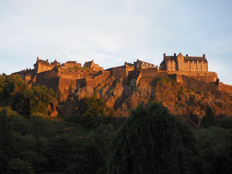 防御爱丁堡日落 免版税库存照片
