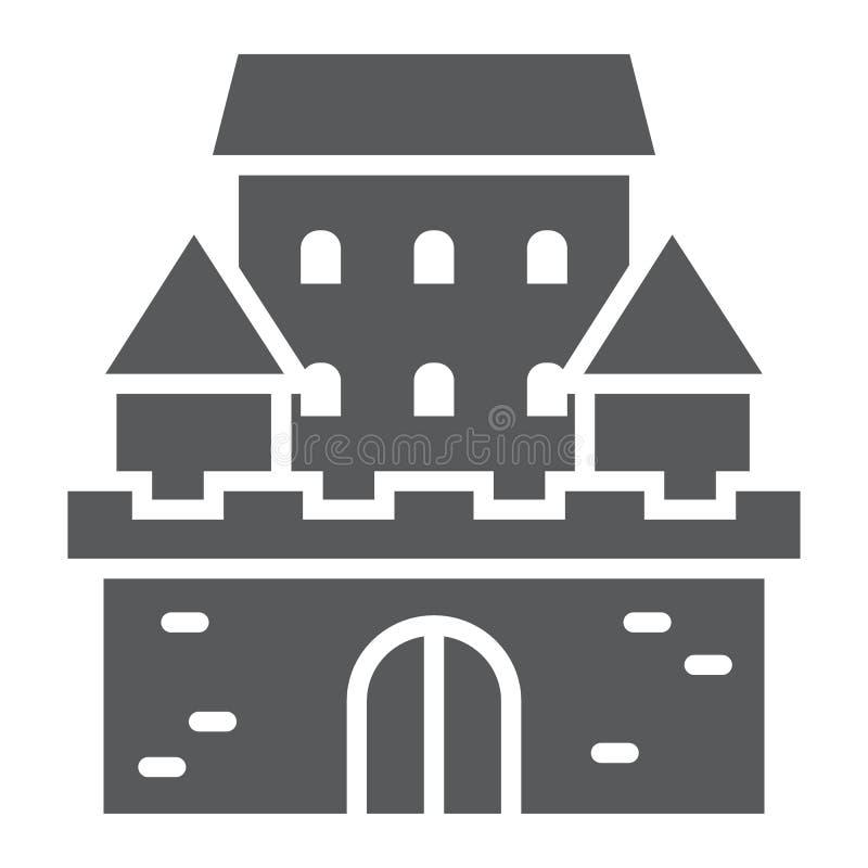 防御纵的沟纹象、建筑学和堡垒,被困扰的房子标志,向量图形,在白色背景的一个坚实样式, 向量例证