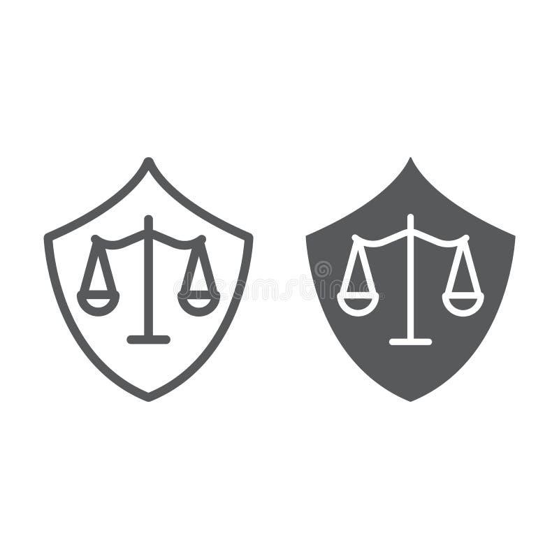 防御线和纵的沟纹象、法律和正义,盾标志,向量图形,在白色背景的一个线性样式 库存例证