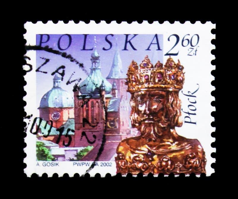 防御,圣徒Sigismund,普沃茨克,波兰城市地标serie圣物箱,大约2002年 免版税库存照片