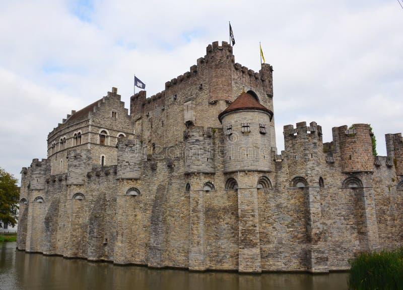 防御Gravensteen在绅士的老市中心 免版税库存照片