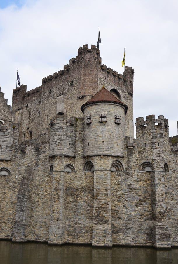 防御Gravensteen在绅士的老市中心 免版税库存图片