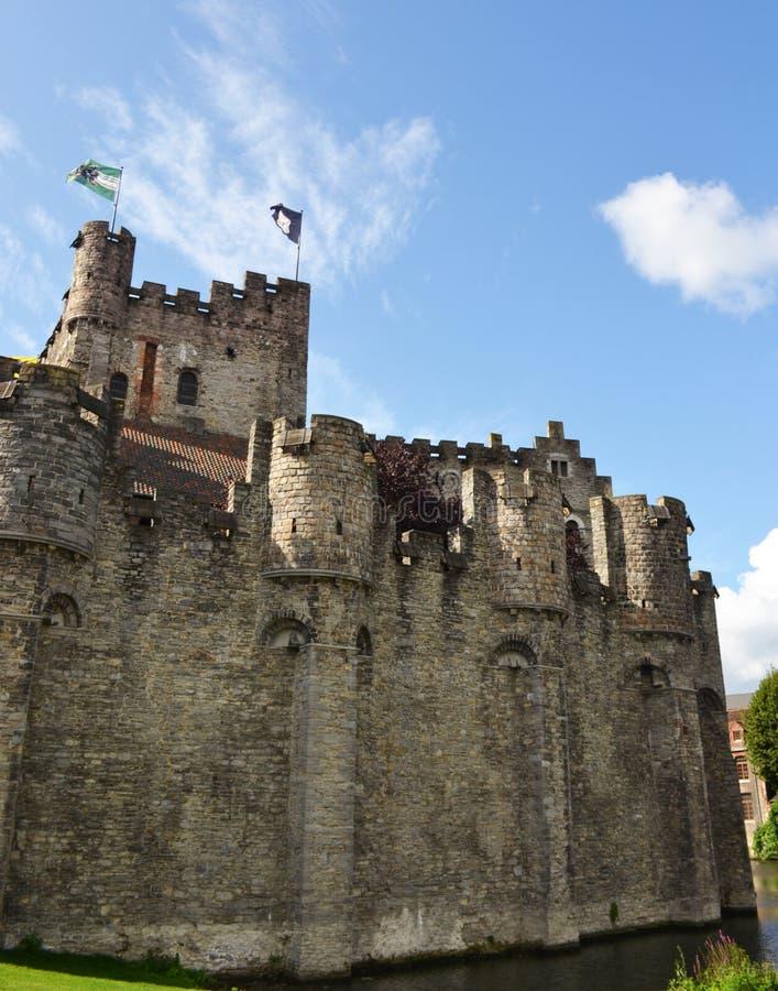 防御Gravensteen在绅士的老市中心 库存图片