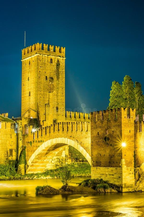 防御Vecchio在夏夜里在维罗纳,意大利 库存图片