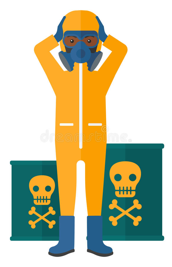 防护化工衣服的人 向量例证