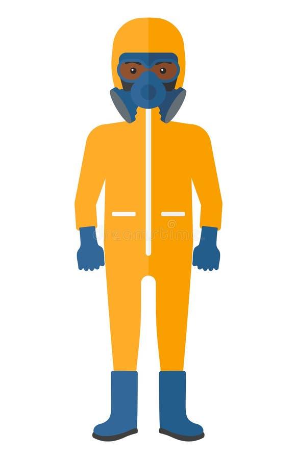 防护化工衣服的人 库存例证