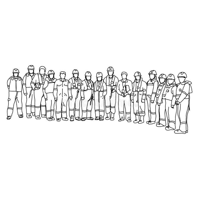防护套服的十五名工作者与一起站立传染媒介例证剪影乱画的听见的帽子手拉与黑线 向量例证