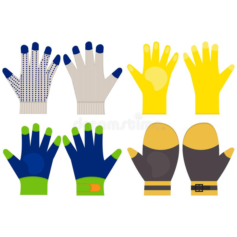 防护手套 顶面和底视图 例证传染媒介集合 在平的样式的象 建筑手套象 向量例证