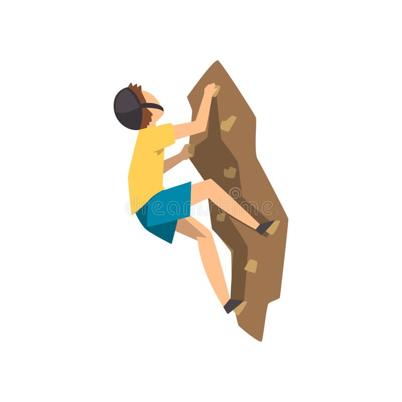 防护盔甲上升的岩石山的男性登山人,极端体育和娱乐活动概念导航例证 库存例证