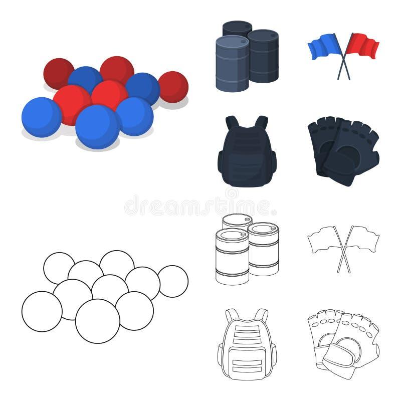 防护背心、手套和其他设备 在动画片,概述样式传染媒介标志股票的迷彩漆弹运动唯一象 向量例证