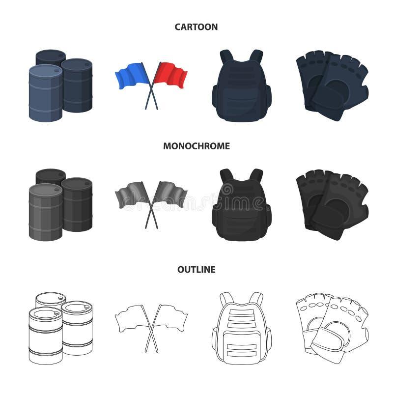 防护背心、手套和其他设备 在动画片,概述,单色样式传染媒介标志的迷彩漆弹运动唯一象 向量例证