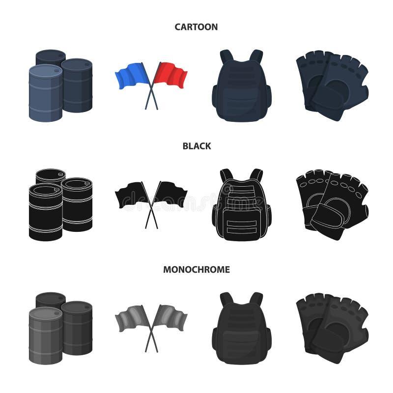 防护背心、手套和其他设备 在动画片,黑色,单色样式传染媒介标志股票的迷彩漆弹运动唯一象 库存例证