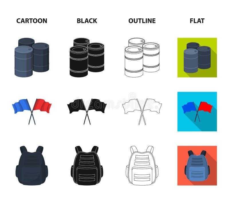 防护背心、手套和其他设备 在动画片,黑色,概述,平的样式传染媒介标志的迷彩漆弹运动唯一象 库存例证