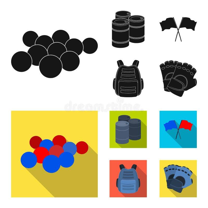 防护背心、手套和其他设备 在黑,平的样式传染媒介标志股票例证的迷彩漆弹运动唯一象 皇族释放例证