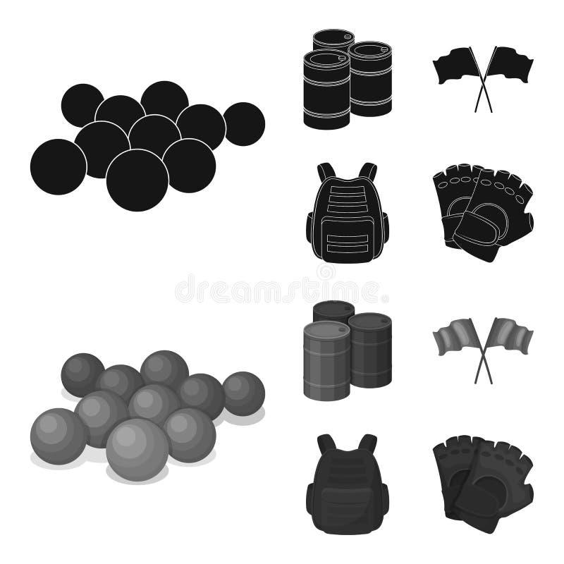 防护背心、手套和其他设备 迷彩漆弹运动唯一象在黑,单色样式传染媒介标志库存 向量例证