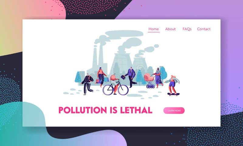 防护面膜的人们在街道,工厂上用管道输送散发抽烟 空气污染,工业烟雾,污染物排气 库存例证