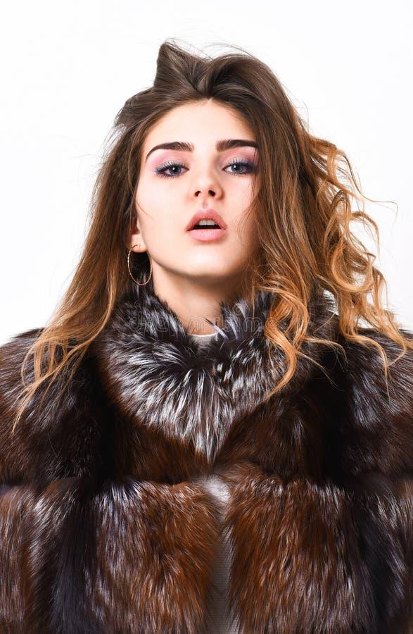 防止冬天头发损伤 妇女构成安静面孔头发容量发型 冬天您应该跟随的护发技巧 头发 免版税图库摄影
