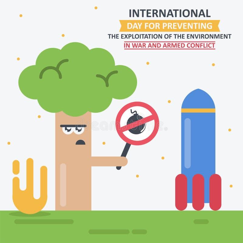 防止的环境的开发IInternational天在战争和武力冲突的 库存例证