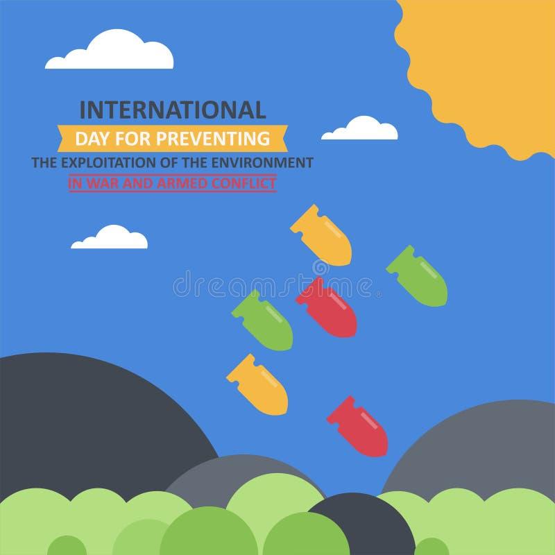 防止的环境的开发IInternational天在战争和武力冲突的 向量例证