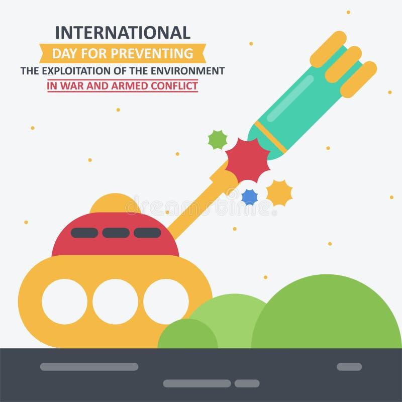 防止的环境的开发IInternational天在战争和武力冲突的 皇族释放例证