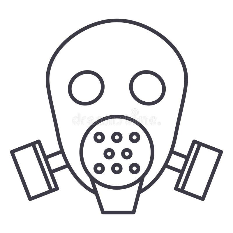 防毒面具人工呼吸机传染媒介线象,标志,在背景,编辑可能的冲程的例证 库存例证