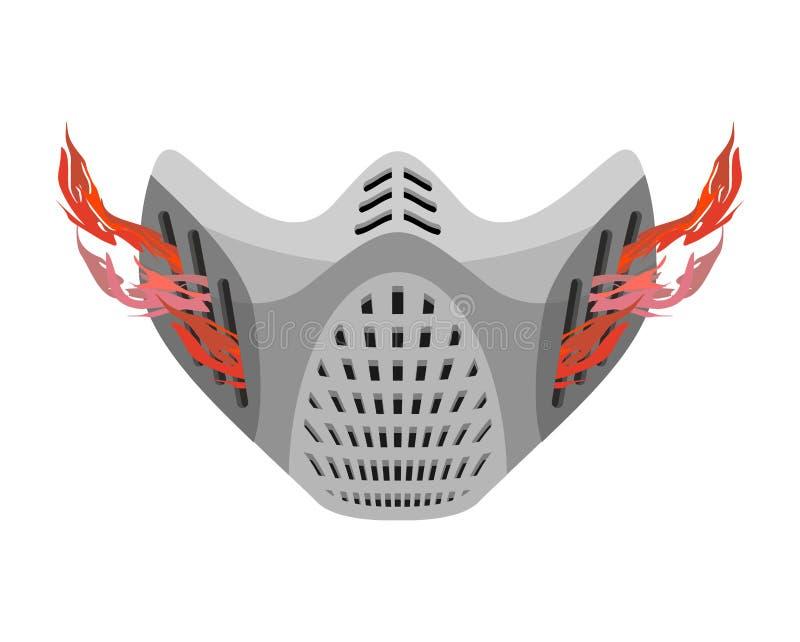 防毒面具人工呼吸机未来 意想不到的太空帽 油漆 向量例证