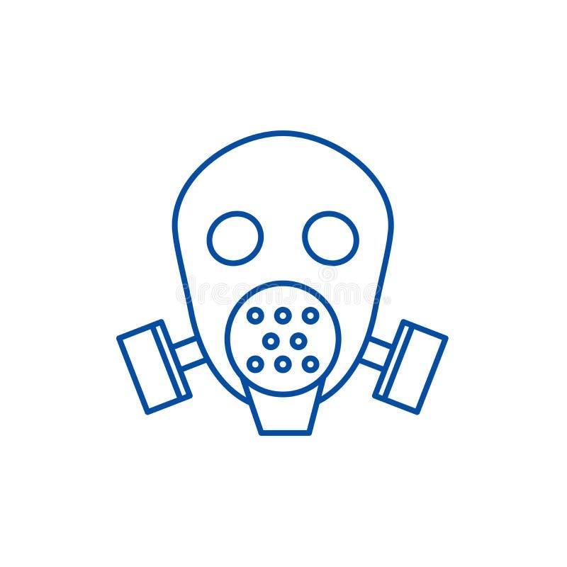 防毒面具人工呼吸机线象概念 防毒面具人工呼吸机平的传染媒介标志,标志,概述例证 库存例证