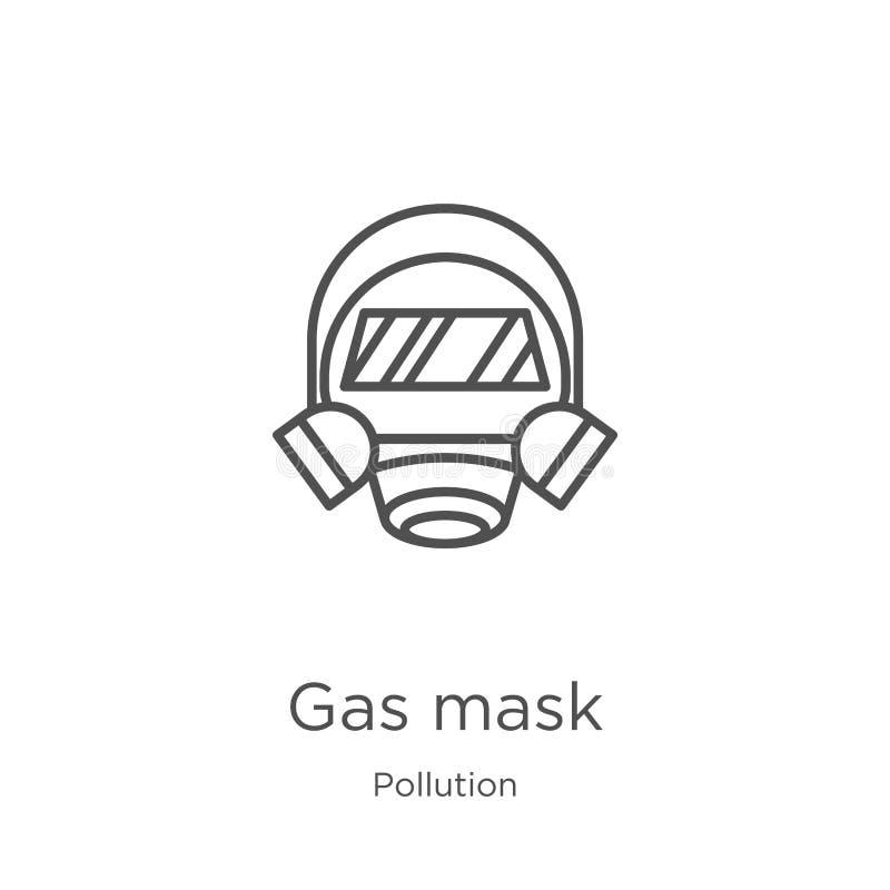 防毒面具从污染汇集的象传染媒介 稀薄的线防毒面具概述象传染媒介例证 概述,稀薄的线防毒面具 向量例证
