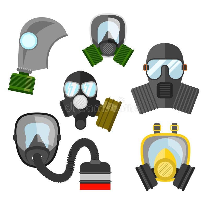 防毒面具传染媒介集合 消防队员和军事的防毒面具 res 向量例证