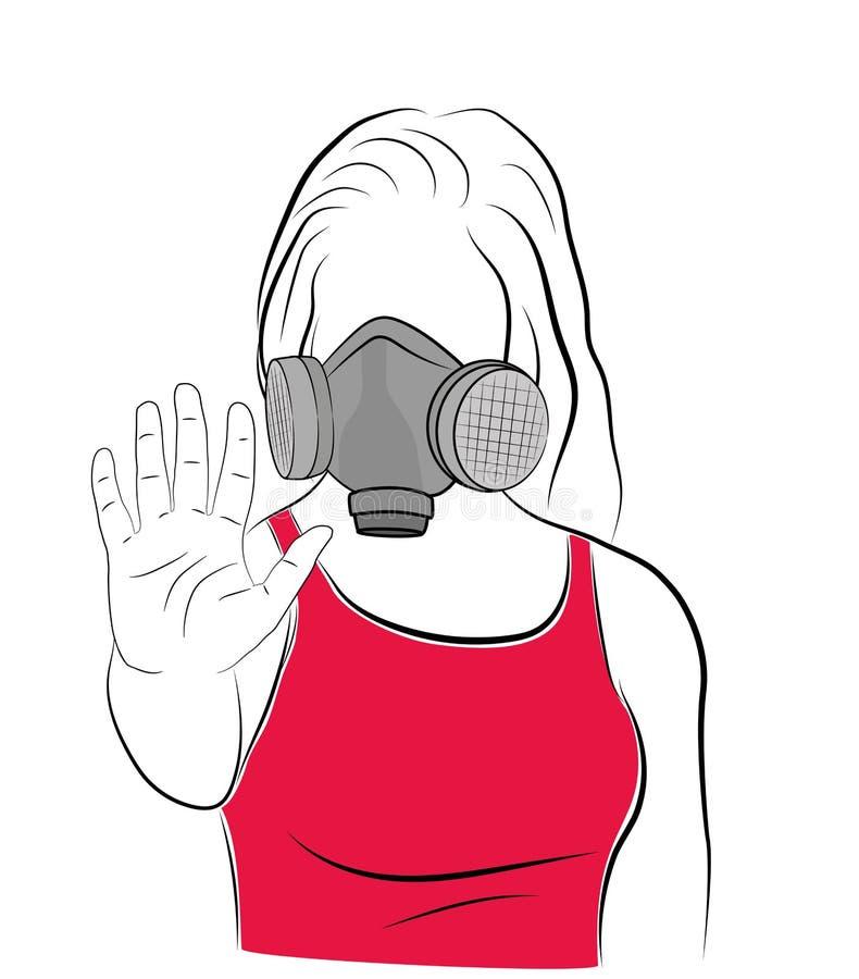 防毒面具的女孩提供她的手,中止!环境污染 也corel凹道例证向量 向量例证