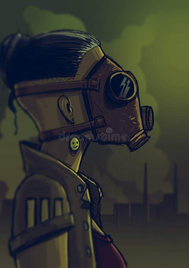 防毒面具的女孩 皇族释放例证