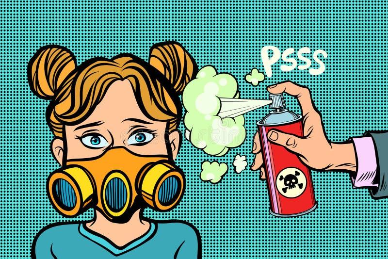 防毒面具的妇女,被喷洒的毒物 向量例证