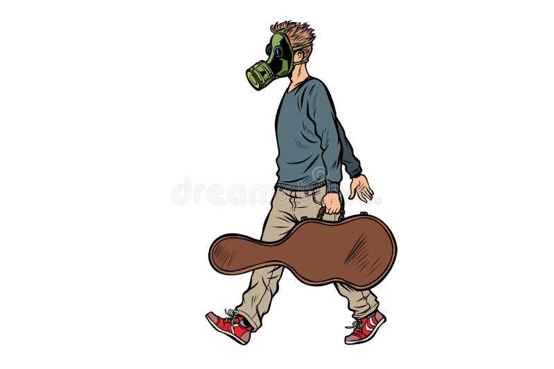 防毒面具的,坏生态肮脏的空气路人吉他弹奏者 皇族释放例证