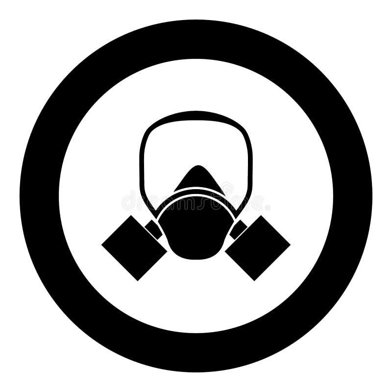 防毒面具象在圈子的黑色颜色 向量例证