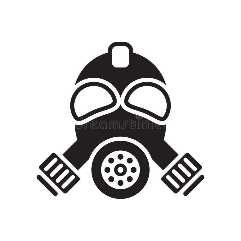 防毒面具象在白色backgroun和标志隔绝的传染媒介标志 库存例证