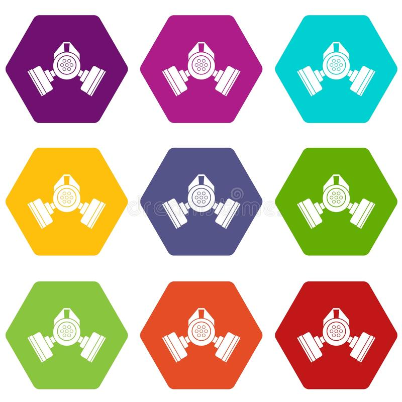 防毒面具象集合颜色hexahedron 向量例证