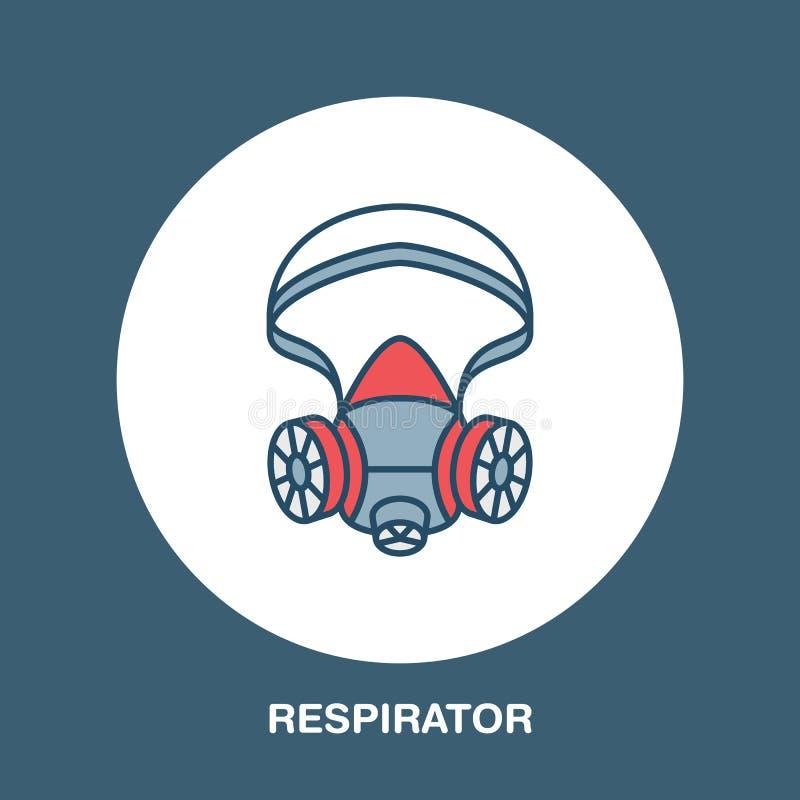 防毒面具,人工呼吸机平的线象 个体防护用品商店的传染媒介商标 卫生防护变薄线性 向量例证