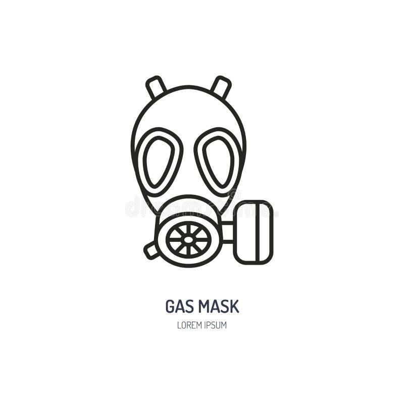 防毒面具,人工呼吸机平的线象 个体防护用品商店的传染媒介商标 卫生防护变薄线性 库存例证