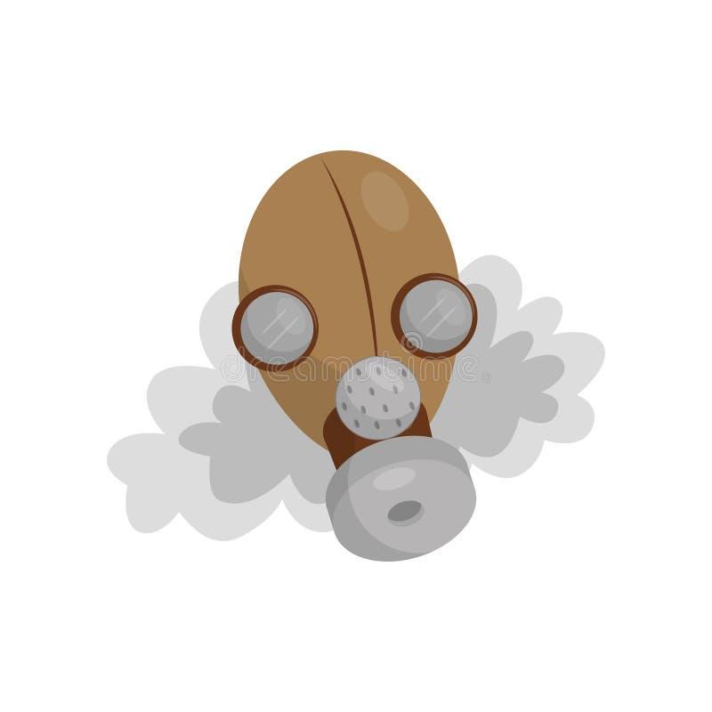 防毒面具,环境污染问题在白色背景的传染媒介例证的标志 库存例证